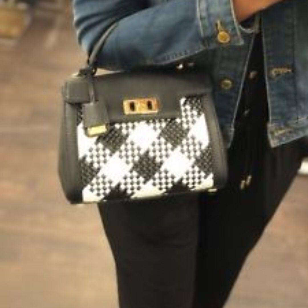 c05b8f9750b5 Michael Kors Karson Mini Woven TH Leather Satchel Bag