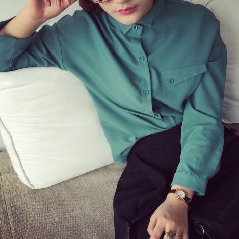 Mint / pea green plain shirt / blouse
