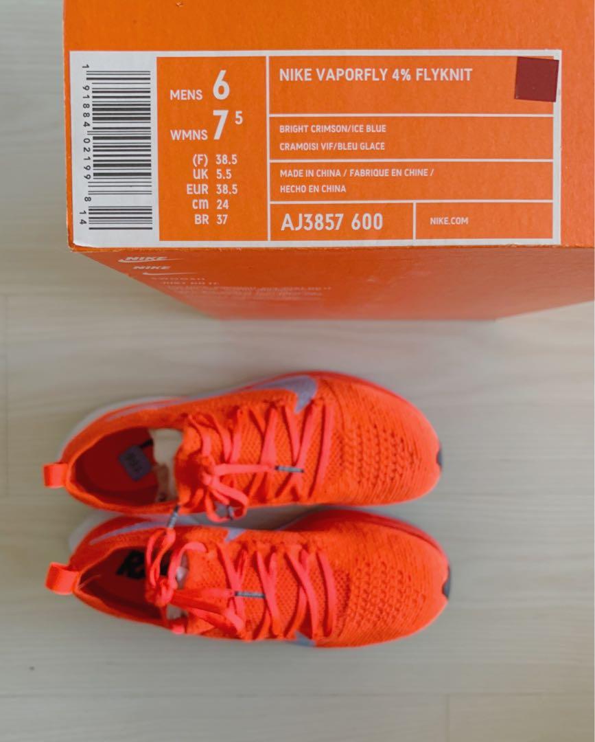 44c7598f4b Nike Vaporfly 4% Flyknit - US 6 / UK 5.5 / EUR 38.5, Women's Fashion,  Shoes, Sneakers on Carousell