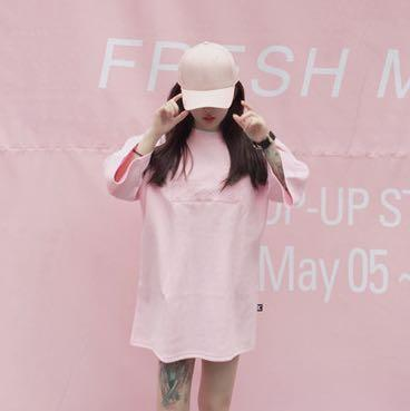 Oversized slogan pink t shirt tee