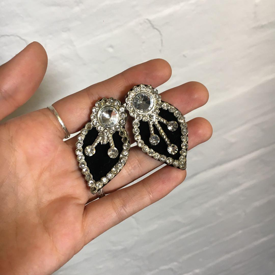 Sparkle Statement Earrings | Black & Silver | $10 + postage