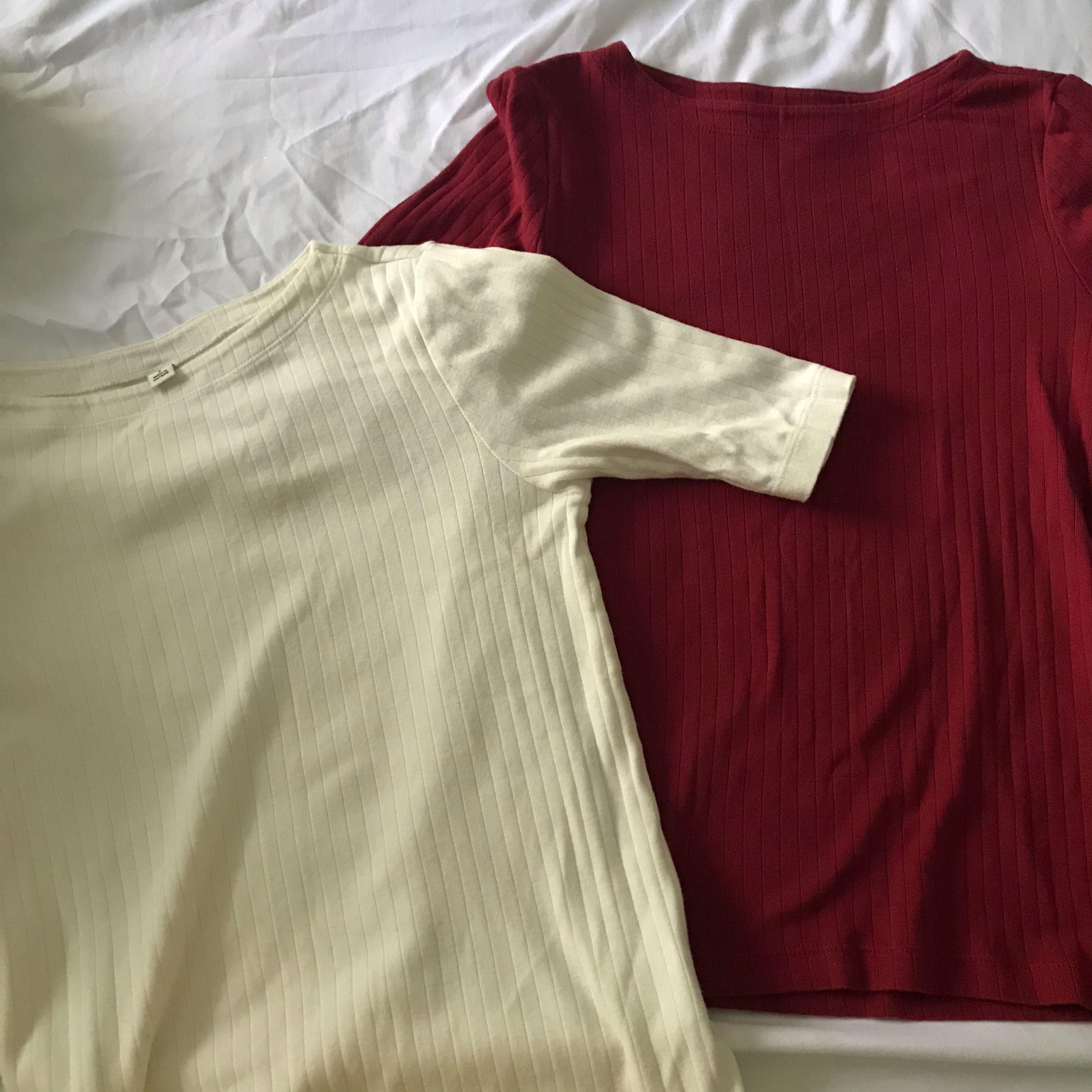 da500c58bcbae3 Uniqlo Half Sleeves Top (Pink/White), Women's Fashion, Clothes, Tops ...