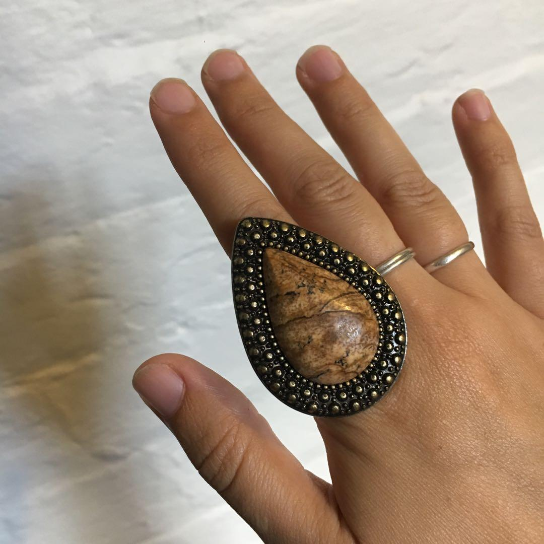 Vintage Stone & Bronzed Gold Large Statement Teardrop Ring