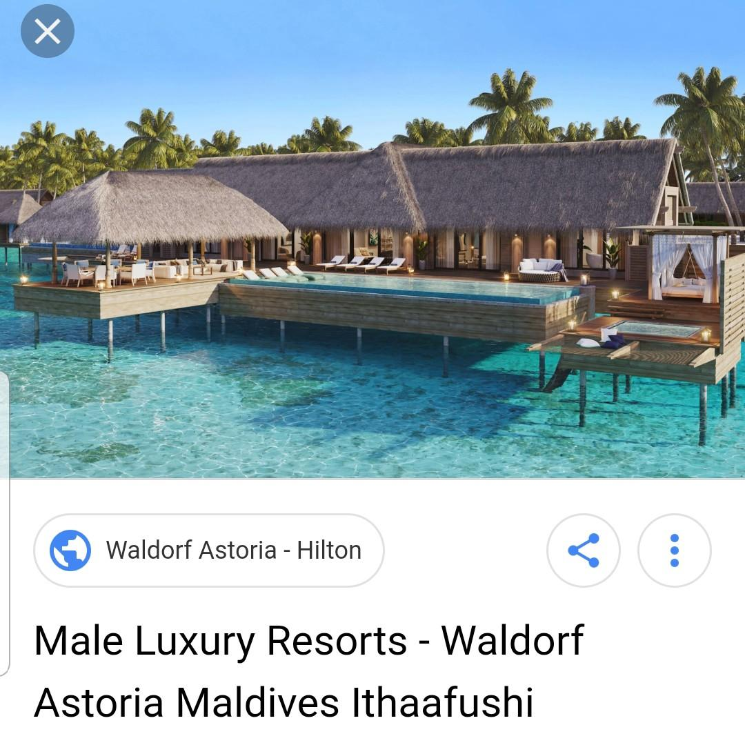 Waldorf Astoria Maldives Ithaafushi, Hotel stay. 5 nights, S$5000