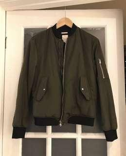Zara Thick Bomber Jacket Olive Green