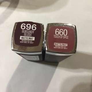 媚比琳 級綻色唇膏 696、660