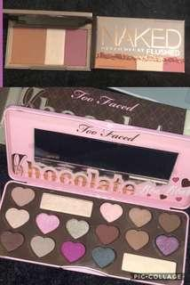 Two face eyeshadow pallete and naked flush pallete