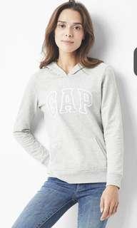 轉賣Gap Logo基本款 休閒上衣 帽T 灰 S