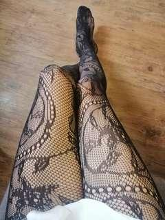 Black Floral Tattoo Stockings / Pantyhose