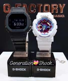 🚚 HAILEY QUINN THEME in COUPLE💝PAIR SET  : 1-YEAR OFFICIAL WARRANTY: 100% Original Authentic G-SHOCK : Best For Most Rough Users & Unisex: DW-5600BB-1 + BA-112-7A / DW5600BB-1 / BA112-7 / CASIO / GSHOCK / BABYG / WATCH