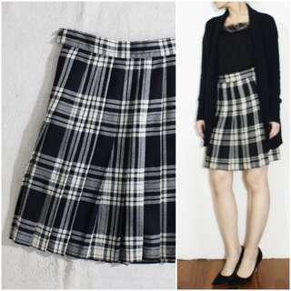 義大利製 處女羊毛黑白格紋百摺短裙 vintage古著