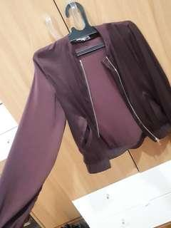 H&M dark red / maroon silk bomber
