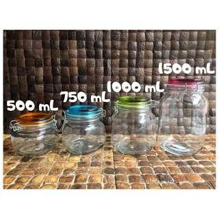 Hermetico Jar 500 mL TUTUP WARNA / Toples Kaca Tutup Kait / Jar Kaca
