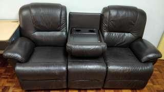3 Seater Leather Recline Theater Style Sofa