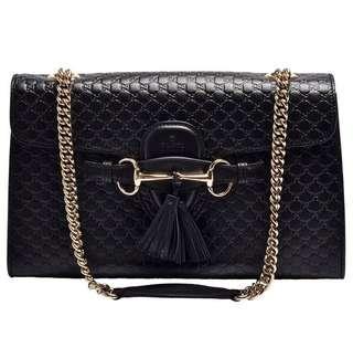 [限面交]GUCCI 經典Gucci Signature系列牛皮壓紋馬銜流蘇造型暗釦手提/肩背包-黑