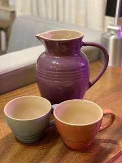 Le Creuset large jug/ vase/ 花瓶/ 水瓶 + mugs 杯