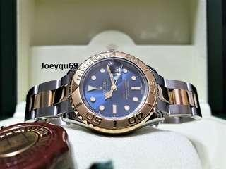 Ladies ROLEX YACHTMASTER 18k Halfgold Rare Blue dial Etching Crystal 169623