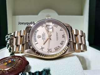"""ROLEX DAY DATE President """"KING"""" Rare Big Roman dial Full YG-18238 Double Quickset!"""