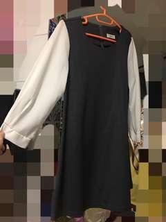 韓國冬季白紡長䄂灰黑圓領長裇