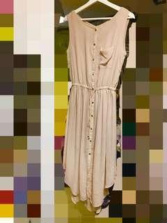 背心淺卡其色紡紗連身裙 腰可調節