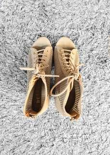 Betts Beige Lace-Up Block Heels