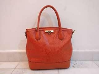 DKNY Orange Pebbled Leather Satchel Bag