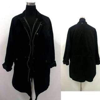 Black Zipped/Buttoned Down Parka