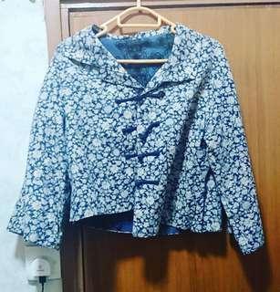 深藍白花中華民族風外套