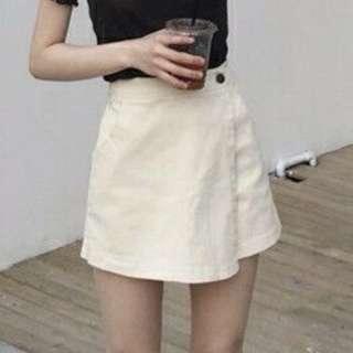黑色高腰顯瘦不規則防走光短褲A字裙s號