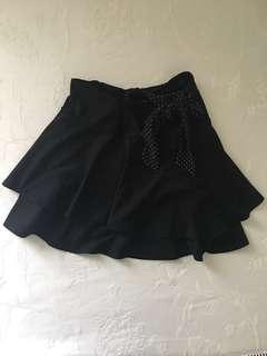 Black flared tie up skirt