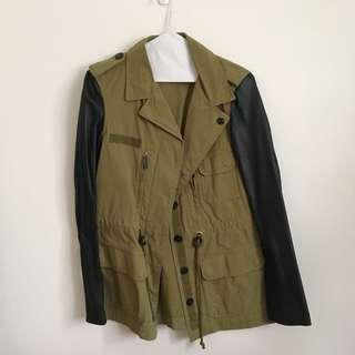 Zara Army Jacket with Leather Sleeves