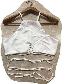 White strappy cropped top