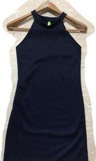 Navy halter body on dress