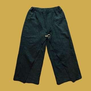 🚚 深灰 條紋寬褲
