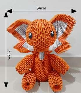 #MakeSpaceForLove Elephant 3D Origami (Orange)