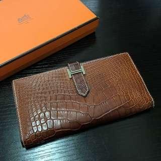 #MILAN02 真品💯 Hermes Alligator Bearn Wallet | Brown 啡色 鱷魚皮革 長銀包 厚身 錢包