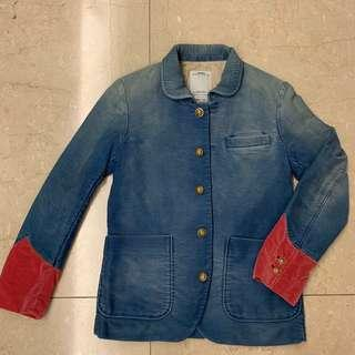 Visvim Blue Washed Effect with Red Velvet Sleeves Cuff