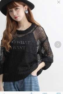 sale♪日本購入WEGO 針織毛線毛衣外罩衫網格透膚上衣 兩件套文字背心+外搭外套