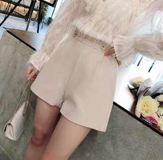 韓版 氣質粉杏金釦挺版西裝褲