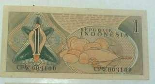 1 rp tahun 1961 no seri 003100
