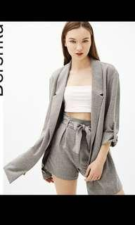 Bershka soft blazer in grey