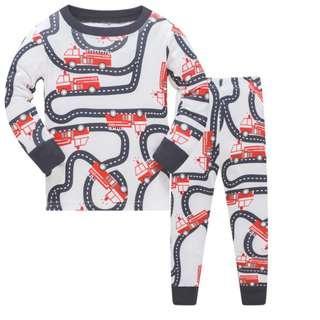 🚚 KOR142 Toddler Kids Short Pajamas PJs Sleepwear - Fire Engine Tracks