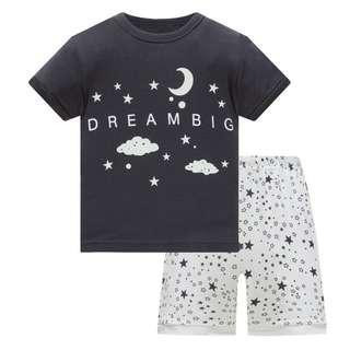 🚚 KOR147 Toddler Kids Short Pajamas PJs Sleepwear - Dream Big