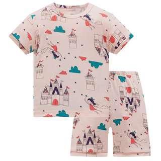 🚚 KOR148 Toddler Kids Short Pajamas PJs Sleepwear - Fairy Castle