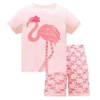 🚚 KOR149 Toddler Kids Short Pajamas PJs Sleepwear - Flamingo