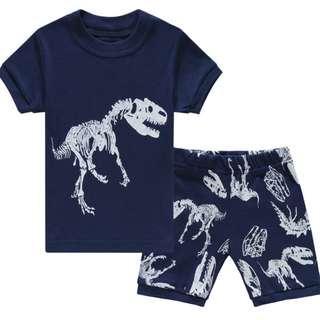 🚚 KOR150 Toddler Kids Short Pajamas PJs Sleepwear - Dinosaur