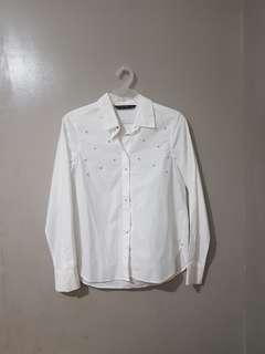 Zara with pearls white button down longsleeves
