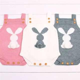 🚚 Bunny Knitted Romper in Grey, White or Pink