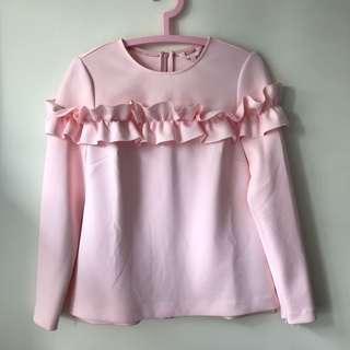 Ted baker pink ruffle top 粉紅色上衣