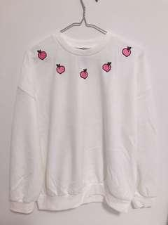 New Peach Embroidered Sweater Sweatshirt